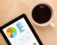ПК таблетки показывает диаграммы на экране с чашкой кофе на столе Стоковые Фото