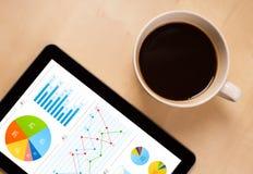 ПК таблетки показывает диаграммы на экране с чашкой кофе на столе Стоковая Фотография