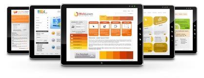 ПК таблетки с несколькими шаблонов веб-дизайна Стоковое Изображение