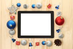ПК таблетки с украшениями рождества Стоковое Изображение
