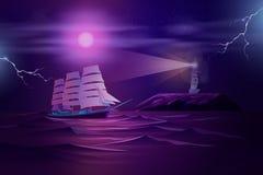 Плавание фрегата в бурном векторе мультфильма океана иллюстрация вектора