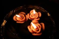 плавать свечки поднял Стоковое Фото