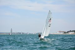 Плавать через вход гавани Poole Стоковые Фотографии RF