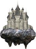 Плавая каменный средневековый изолированный замок стоковое изображение rf