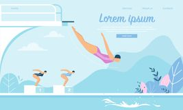Плавая конкуренция, спортсменки скача в воду иллюстрация штока
