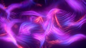 Плавая линии с глубиной поля 3d представляют анимацию, абстрактную предпосылку, дневной ультрафиолетовый свет, накаляя сток-видео