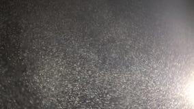 Плавая маленькие зайчики пыли летание на черной предпосылке сток-видео