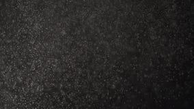 Плавая маленькие пятнышки падают на черную предпосылку студии сток-видео
