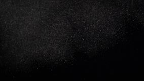 Плавая миниатюрные частицки пыли парящие на черной предпосылке акции видеоматериалы
