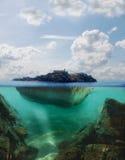 Плавая остров иллюстрация штока
