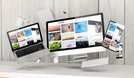 плавая приборы на офисе с портфолио на экране иллюстрация вектора