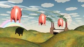 Плавая свинья и иллюстрация штока