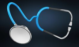 Плавая цифровой голубой перевод стетоскопа 3D Стоковое фото RF