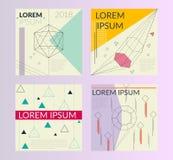Плакаты вектора ультрамодные геометрические Современный комплект абстрактных карточки, шаблона, крышек или планов также вектор ил Стоковое Изображение