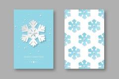 Плакаты праздника рождества с отрезком бумаги вводят снежинки в моду Синь поставила точки предпосылка с текстом приветствию, вект Бесплатная Иллюстрация