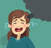 Плакать девушки шаржа Стоковая Фотография RF