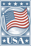 плакат американского флага Стоковое фото RF