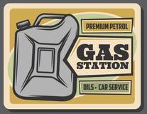 Плакат бензоколонки ретро, канистра бензина бесплатная иллюстрация