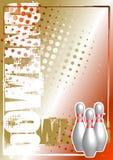 плакат боулинга предпосылки золотистый иллюстрация вектора