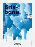 Плакат вектора градиента города горизонта Австралии Брисбена Стоковое Изображение RF