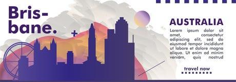 Плакат вектора градиента города горизонта Австралии Брисбена Стоковые Фото