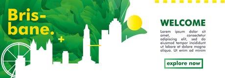 Плакат вектора градиента города горизонта Австралии Брисбена Стоковая Фотография RF