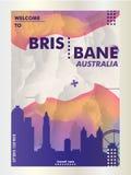 Плакат вектора градиента города горизонта Австралии Брисбена Стоковые Изображения