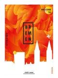 Плакат вектора градиента города горизонта Германии Бремена Стоковые Изображения RF