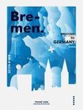 Плакат вектора градиента города горизонта Германии Бремена Стоковая Фотография
