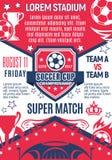 Плакат вектора для игры чемпионата чашки футбола Стоковые Изображения RF
