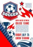 Плакат вектора для лиги коллежа футбола футбола Стоковое фото RF