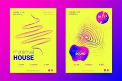 Плакат вектора кругов электронной музыки передернутых фестивалем иллюстрация штока