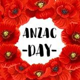 Плакат вектора мака дня военного мемориала дня Anzac красный Стоковые Фото