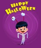 Плакат вектора хеллоуина с костюмом ребенк нося иллюстрация штока