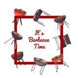 Плакат времени барбекю с грилями угля бесплатная иллюстрация