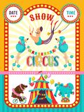 Плакат выставки цирка также вектор иллюстрации притяжки corel Художники цирка и натренированные животные иллюстрация штока