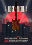 Плакат в реальном маштабе времени ночи утеса концерта, рогулька, шаблон для вашего события, концерт знамени, партия, выставка, фе Стоковая Фотография
