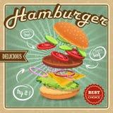 Плакат гамбургера ретро Стоковые Изображения RF