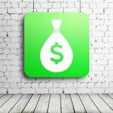 Плакат денег в комнате кирпича Стоковое фото RF