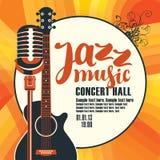Плакат джазовой музыки с гитарой и микрофоном Стоковое Изображение RF