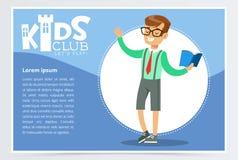 Плакат для детей бьет с книгой считывания знаков школьника открытой aloud Развлечения, promo разрабатывающей организации иллюстрация штока