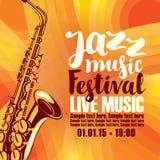 Плакат для живой музыки джазового фестиваля с саксофоном Стоковая Фотография