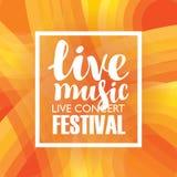 Плакат для концерта или фестиваля живой музыки Стоковое Изображение RF