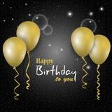 Плакат дня рождения темный с золотыми воздушными шарами на заднем плане Стоковое Изображение