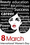 Плакат дня ` s женщин День ` s женщин 8-ое марта международный Стоковые Изображения RF