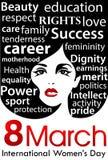 Плакат дня ` s женщин День ` s женщин 8-ое марта международный Стоковая Фотография RF