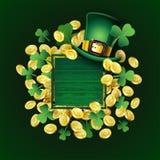 Плакат дня St Patricks вектора Ирландские элементы дизайна: Шляпа лепрекона, клевер, золотые монеты, пустое место текста на дерев стоковое изображение rf