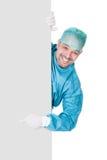 Плакат доктора В Деятельности Мантии Holding пустой Стоковое Изображение RF