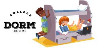 Плакат дома frat студентов красочный с мальчиками и девушкой соквартирантов при чемодан двигая к ее новому вектору комнаты общей  Стоковое Изображение RF