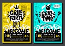 Плакат еды BBQ времени партии гриля Зажаренная еда, овощи рыб мяса жарит специю лимона креветок цыпленка ножа вилки прибора иллюстрация штока